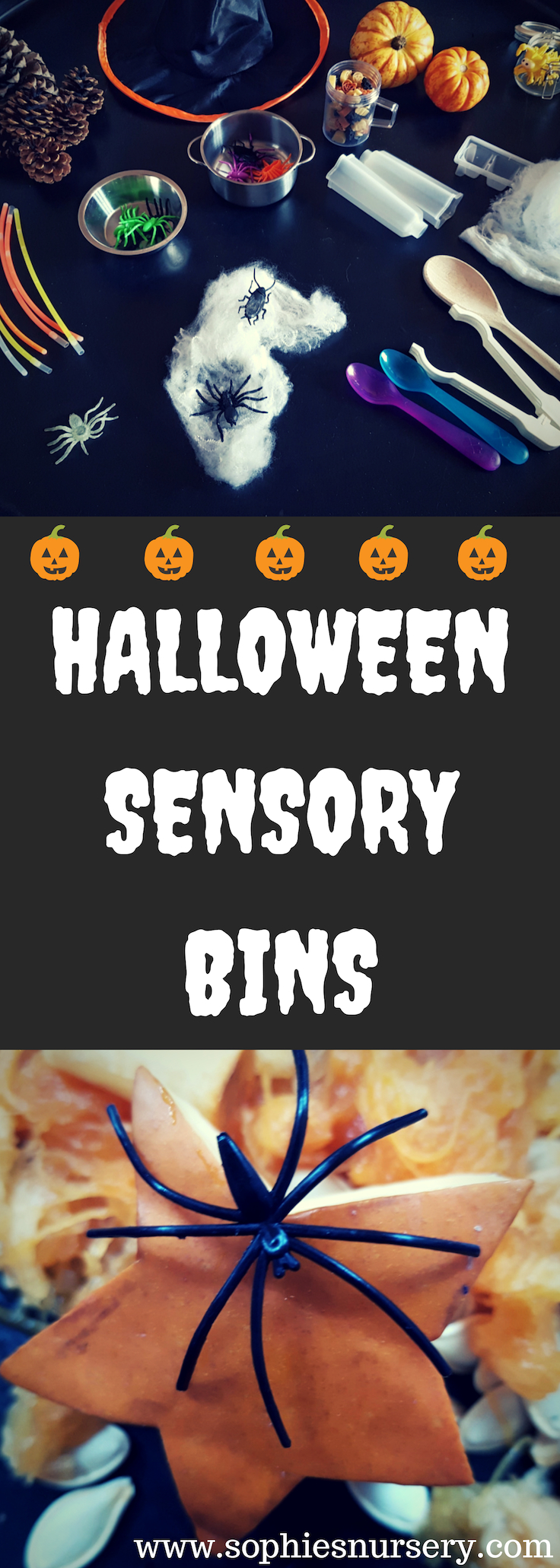 Take a look out these super easy Halloween sensory bins! They're so simple to make & provide hours of #Halloween themed fun & learning opportunities.  #parenting #kidsactivities #toddlers #sensoryplay #imaginativeplay #roleplay #kidsgames #spooky #tufftray #pumpkin